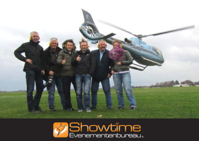 Groepsuitje Helikopter dropping it's SHOWTIME Evenementenbureau